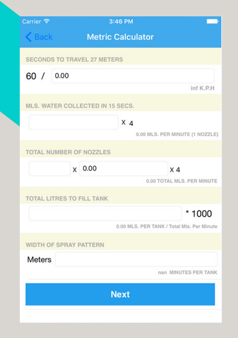 iphone application spray calibration calculator